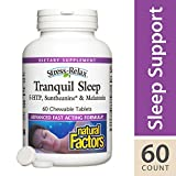 Natural Factors - Stress-Relax Tranquil Sleep Chewable, Natural Support for a Calm Mind, Deep Sleep, and Refreshed Morning with 5-HTP, L-Theanine, and Melatonin, Tropical Flavored, 60 Chewable Tablets