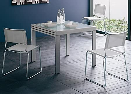 Table 90 x 90 cm à rallonge - Satinée - Verre Neutre