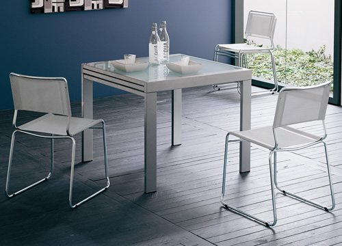 Frunty table 90 x 90 cm rallonge satin e verre neutre - Table 90x90 avec rallonge ...