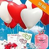 50 rote/weisse HELIUM Herzluftballons Hochzeit - KOMPLETTSET aus roten & weissen HERZ Heliumballons, Helium Einwegflasche, Ballonkarten GELOCHT und Ballonschnur zum Luftballons steigen lassen zur Hochzeit - Hochzeitsspiele und Partyspiele