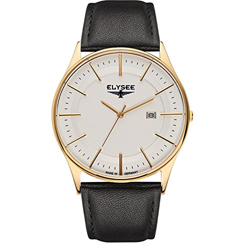 ELYSEE Made in Germany Diomedes II 83016L 42mm Gold Plated Stainless Steel Case Black Calfskin Synthetic Sapphire Men's Watch