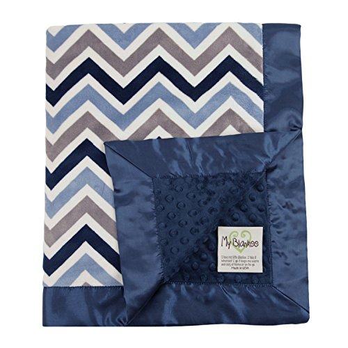 "My Blankee Chevron Minky Multi Silver w/ Minky Dot Navy Blue Baby Blanket, 30"" X 35"""