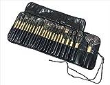 プロ仕様 メイクブラシ 24本 セット ホルダー ケース 付き (3:ウッド調)