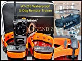 Aetertek AT-216S-350S Waterproof Remote Dog Training Shock Collar, 3 Dog
