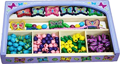 Toys of Wood Oxford Wooden Beads Jewellery Box - wooden butterfly and beads