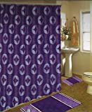 NEW 15PC PURPLE CIRCLES DESIGN BATHROOM BATH MATS SET RUG CARPET SHOWER CURTAIN