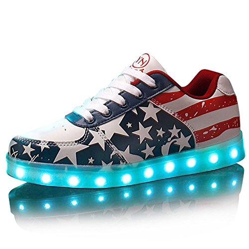 DoGeek-Unisex-7-Colors-USB-Carga-Luz-Luminosas-Flash-LED-Zapatos-Zapatillas-de-Deporte-Para-Hombres-Mujeres-Blanco-Elegir-1-tamao-ms-grande