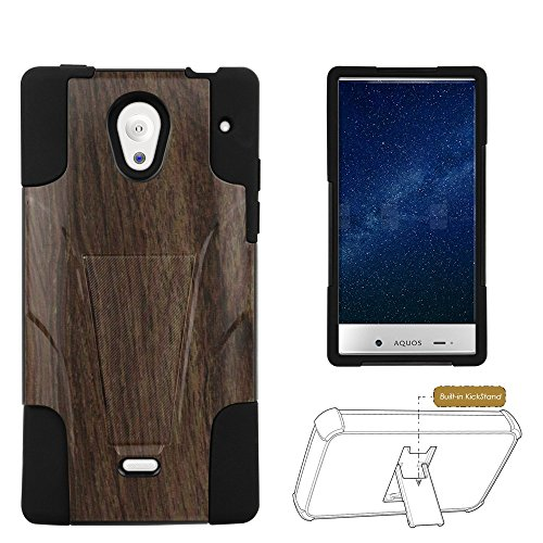 Spots8® for Sharp Aquos Crystal - Heavy Duty Slim Fit Case with Kickstand - Rich Tobacco Maple Wood (Sharp Aquos Crystal Wood compare prices)