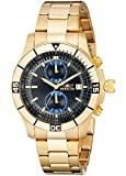 Invicta Men's 12655 Specialty Chronograph Black Textured Dial 18k Gold Ion-Plated Stainless Steel Watch