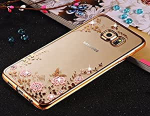 FONOVO Samsung A3 2016 - Shockproof Silicone Soft TPU Transparent Auora Flower Case with Sparkle Swarovski Crystals for Samsung A3 2016 Back Cover (Gold)