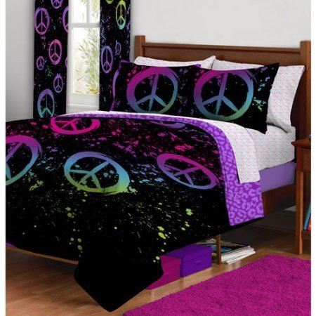 9pc girl black pink green purple peace sign twin comforter - Purple and pink comforter sets ...