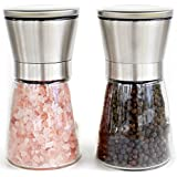 Elegant Stainless Steel Salt and Pepper Grinder Set - Salt & Pepper Mill Pair with Adjustable Coarseness and Stunning Glass Body - Brushed Stainless Steel Salt and Pepper Shakers