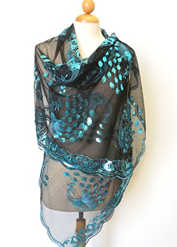 """All Hand Made Peacocks Sequined Scarf . Beautiful Designs ,Elegant and Fashion Peacock For All Year Round , Soft Touch w/Convenient Size at 24"""" x 62"""" +7""""x2 Good For All Seasons. Super Saving,100% Satisfaction Guaranteed ! The Most Wonderful Birthday G..."""