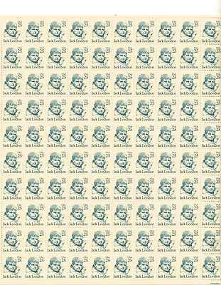Jack London Sheet of 100 x 25 Cent US Postage Stamps NEW Scot 2182