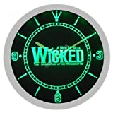 Wicked The Musical Music Neon Sign Bar Wall Clock - Green