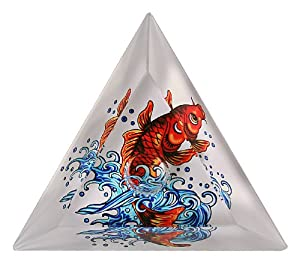 Ed Hardy Candle Glass Taper Candlestick Holder, Koi