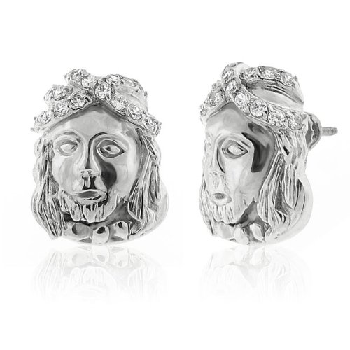 Real Genuine Solid 925 Sterling Silver 18mm Round Cut Jesus Face Cubic Zirconia Screw Back Earrings