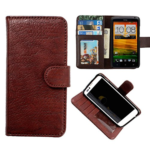 DooDa PU Leather Wallet Flip Case Cover With Card & ID Slots & Magnetic Closure For Lenovo RocStar A319 (Brown)