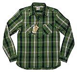 (ヒューストン)HOUSTON マチ付 長袖 ビエラチェック ヘビーネルシャツ M GRN×BLACK(グリーン×ブラック系)