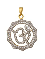 Affinity Gold Plated Cubic Zirconia Om Pendant For Women (Promotional Offer, Best Reviews)
