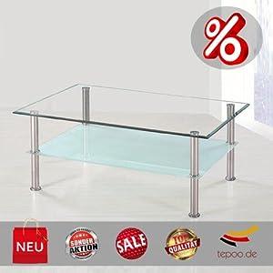 Couchtisch glas tisch milchglas chrom glastisch f r for Wohnzimmertisch chrom glas