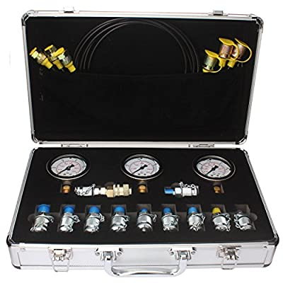 Excavator Hydraulic Pressure Test Kit, Hydraulic Tester, Pressure Test Guage Coupling 9000 PSI