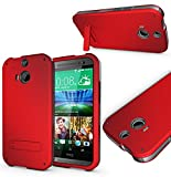 Magic Global Gadgets - RED Box Armor Tough Heavy Duty Shock Proof Case Cover With Media Stand For HTC ONE M8 / HTC ONE 2 (2014) With Front Frame + Stylus Pen + Screen Guard + Cleaning Cloth