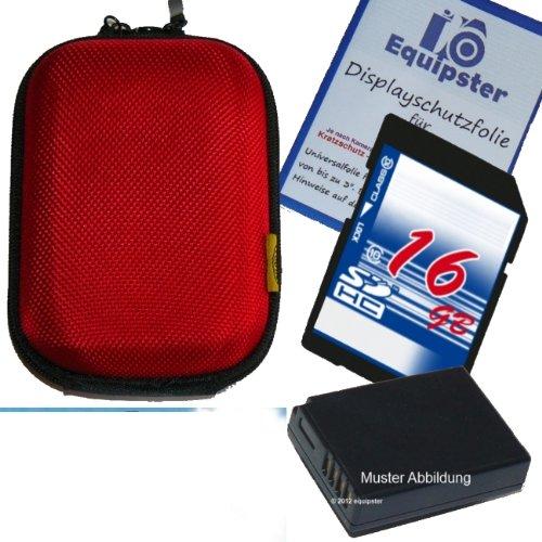 Canon Digital Ixus 125 HS Zubehör Set / Bundle / Sparpaket mit stylischer Hartschalentasche in rot inklusive 16GB SDHC Speicherkarte Akku für NB-11L und Equipster Displayschutzfolie