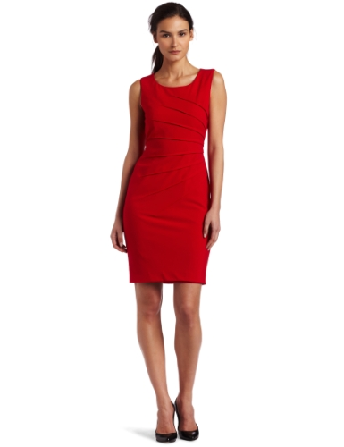 Calvin Klein Womens Starburst Dress, Red, 4