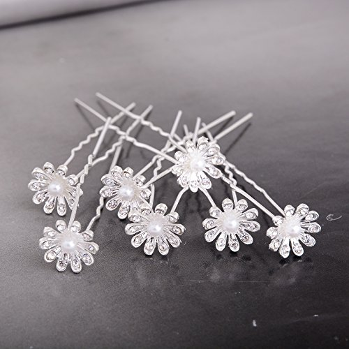 Yantu Womens Flower Bridal Wedding Hair Pin with Crystal (Pack of 20) (small sun flower) (Small Crystal Hair Pin compare prices)