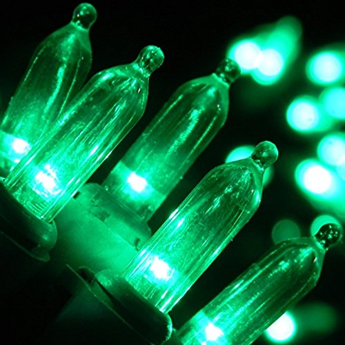 Holiday Essence 100 Green String Lights with Green Wire - Indoor & Outdoor Use - Professional ...