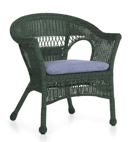 All Weather Resin Outdoor Easy Care Wicker Chair In Green Sac