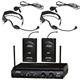 6032uf UHF Dual Channel Wireless Microphone with Two Headband Headset & Two Lapel (Lavalier) Mic