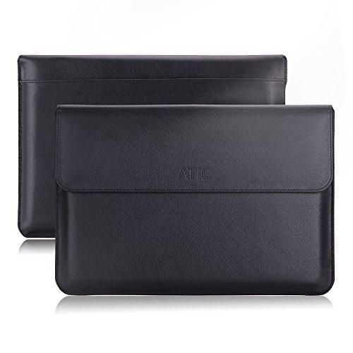 ATiC スリーブケース - MacBook Air 13インチ & MacBook Pro 13インチタブレット専用スリーブケース。BLACK  (名刺カードスロット付き,ポケット付き, 内部繊維)(13インチ以下のタブレットに適応)