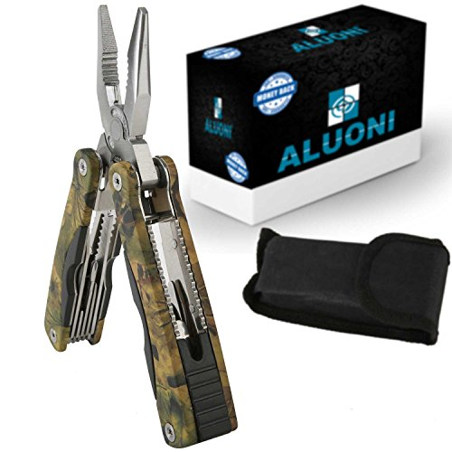 Best Multitool 15in1 Portable Pocket Multifunctional Multi tool by ALUONI With Folding Saw Sharp Knife Wire Cutter Pliers Sheath Multipurpose