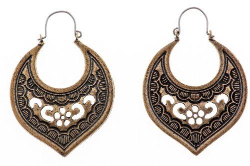 Shagwear Woman's Classic Vintage Art Deco Ancient Inspired Tribal Eached Earrings