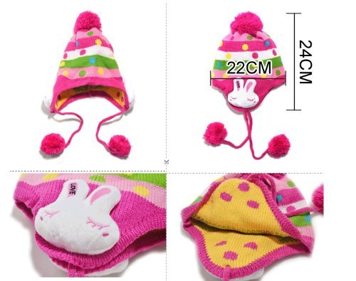 [Pocca Pocca] (What was the original, leg warmers set) 5 colors choice head ear neck feet warm rabbit knit earmuff scarf neck warmer Hat Cap baby baby kids children toddler baby grandchildren also stroll stroll was a cute cold weather winter frostbite protection yarns or Buri PP14120914 (rose)