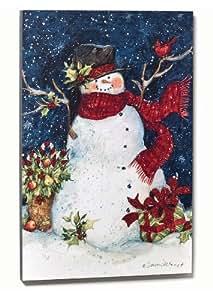 Christmas decorations snowman with cardinal for Christmas wall art amazon