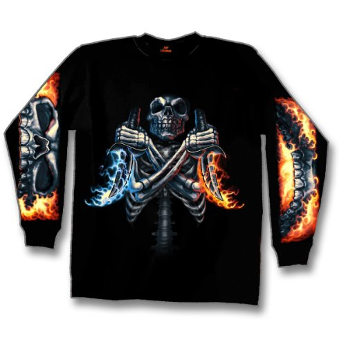 Hot Leathers and Dagger Long Sleeve T-Shirt (Black, XXX-Large)