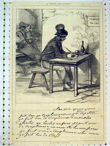 Antique Drawing C1875 Man Writing Table Poetry Print