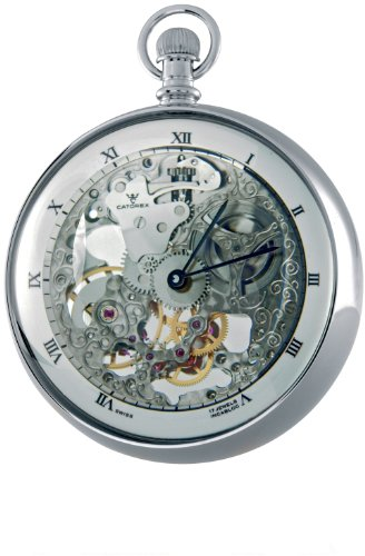 Catorex Men's 178.1.1839.000 La Pautele Palladium Brass Skeletal Globe Pocket Watch