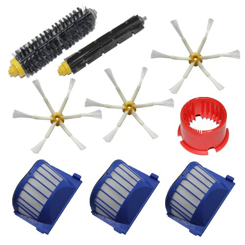 Shp-Zone Aero Vac Filters & Bristle Brush & Flexible Beater Brush & 6-Armed Side Brushes & Cleaning Tool Pack Kit For Irobot Roomba 600 Series (600 620 630 650 660) Vacuum Cleaning Robots front-594148