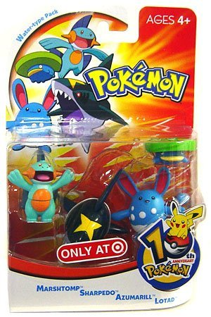 Picture of Hasbro Pokemon Mini Action Figure Set Water Type Pack with Marshtomp, Sharpedo, Azumarill & Lotad (B000JWW8JK) (Pokemon Action Figures)
