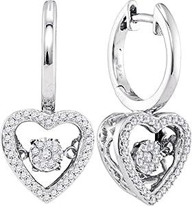 Twinkle Diamond Heart Earrings 10k White Gold 1/4 CTW 82 Diamonds