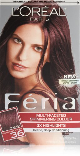 Feria Hair Color, 36 Deep Burgundy Brown (Packaging May Vary) (Chocolate Color Hair Dye compare prices)