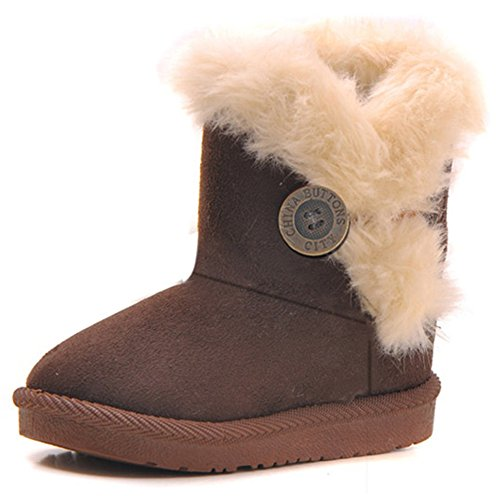 Femizee Girls Boys Warm Winter Flat Shoes Bailey Button Snow Boots(Toddler/Little Kid),Coffee,4 M US Toddler