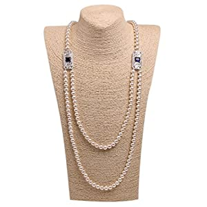Wild Wind (TM) Handmade Round Pearl Strands Necklaces (Blue Crystal Stones)