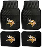 NFL Minnesota Vikings Car Floor Mats Heavy Duty 4-Piece Vinyl - Front and Rear