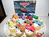 Disney Cars Movie Figure Deluxe Cake Toppers / Cupcake Party Favor Decorations Set of 12 with Mater, McQueen, Holley Shiftwell, Finn McMissle and More!