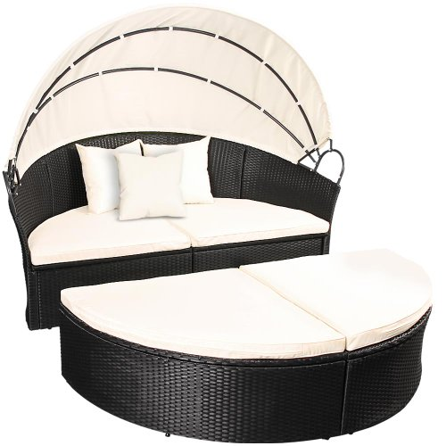 Miadomodo-Rattan-Garden-Day-Bed-Furniture-Set-Black-Roof-Sun-Lounger